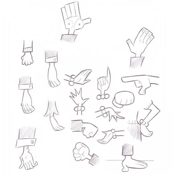 how to draw retro  hands  u0026 feet